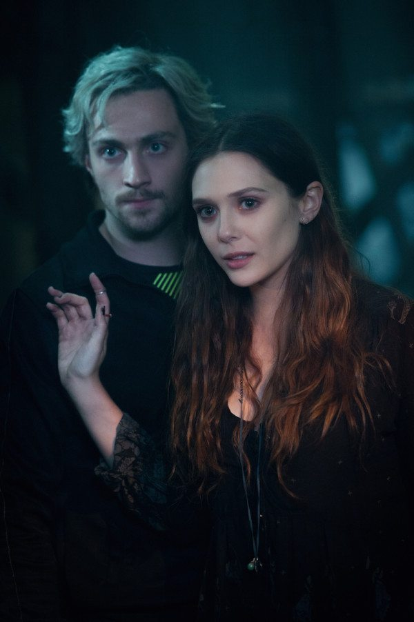 Marvel's Avengers: Age Of Ultron..L to R: Quicksilver/Pietro Maximoff (Aaron Taylor-Johnson) and Scarlet Witch/Wanda Maximoff (Elizabeth Olsen)..Ph: Jay Maidment..©Marvel 2015