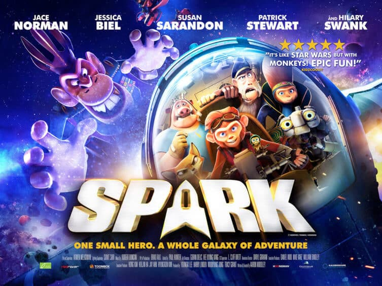 UK Official Poster for.... Spark Featuring the voices of Patrick Stewart, Susan Sarandon, Jessica Biel and Hilary Swank
