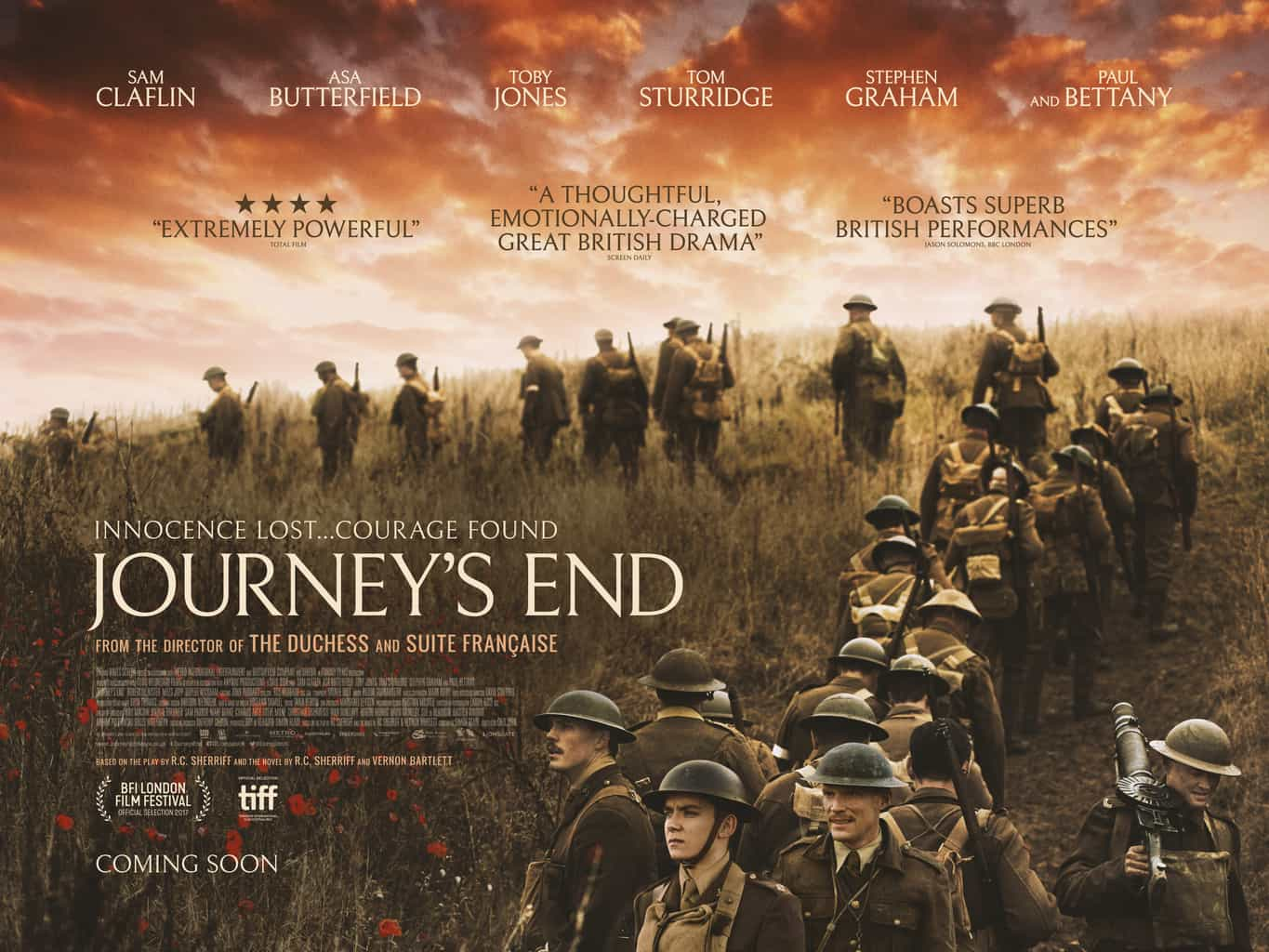 Journey's End | Brand New Artwork featuring Sam Claflin, Asa Butterfield and Paul Bettany