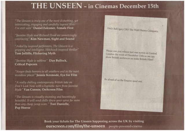 Gary Sinyor - Director of The Unseen, takes on Disney's CEO Bob Iger in the clash for UK Cinema Venues this December