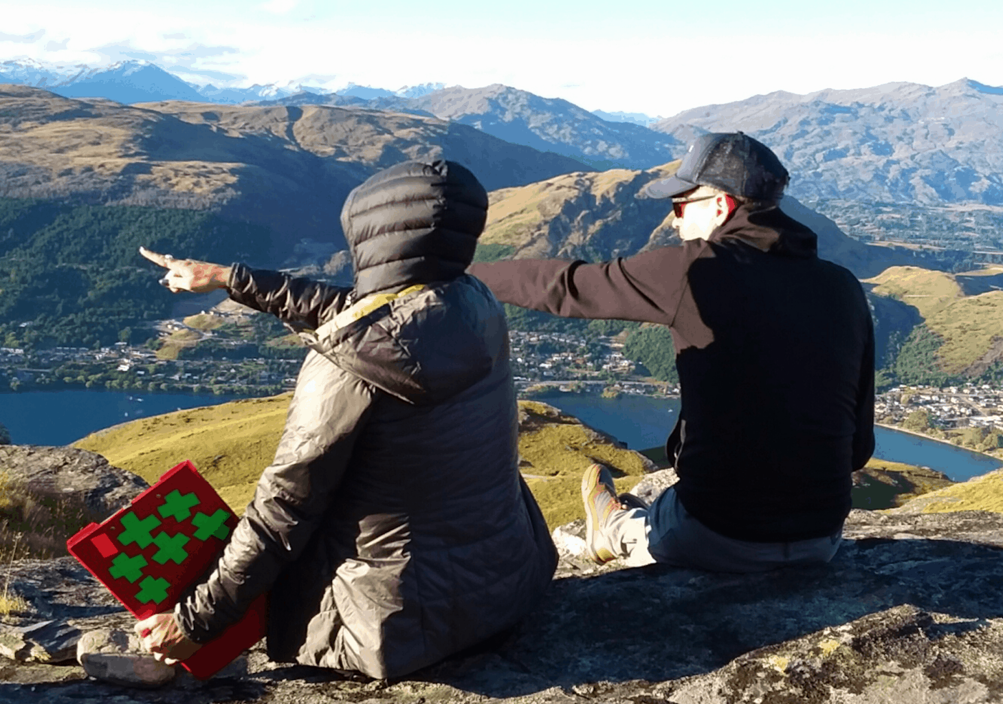 Rachel (left) on location in New Zealand, planning VFX work on a large-scale battle scene.