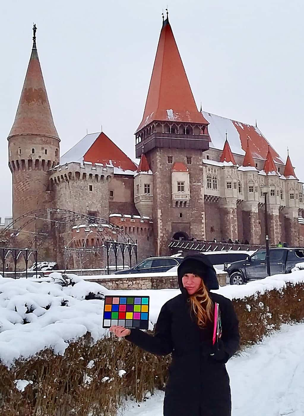 Rachel shooting in Transylvania.