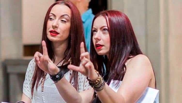 Jen (left) and Sylvia Soska (right) on the set of RABID.